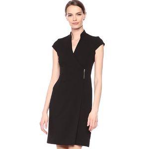 Calvin Klein Cap Sleeve Buckle Waist Wrap Dress